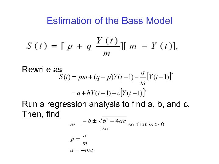Estimation of the Bass Model Rewrite as Run a regression analysis to find a,