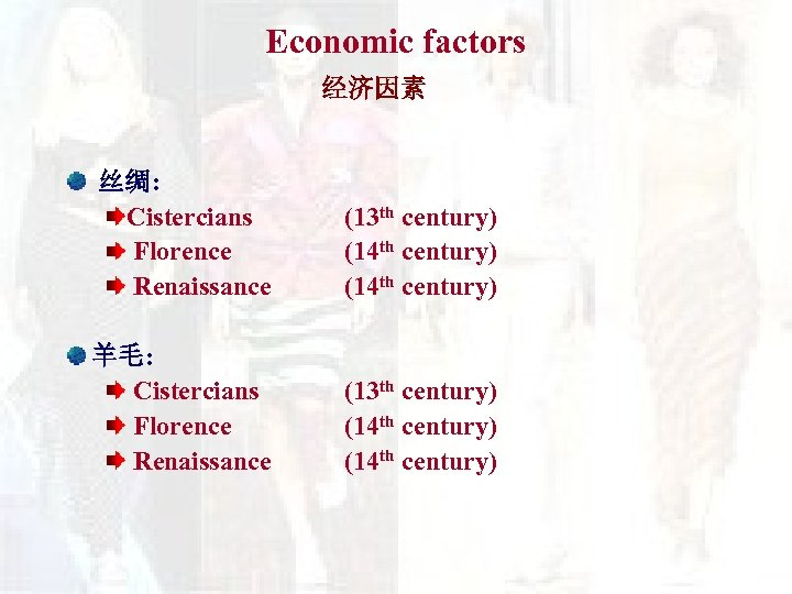 Economic factors 经济因素 丝绸: Cistercians Florence Renaissance (13 th century) (14 th century) 羊毛:
