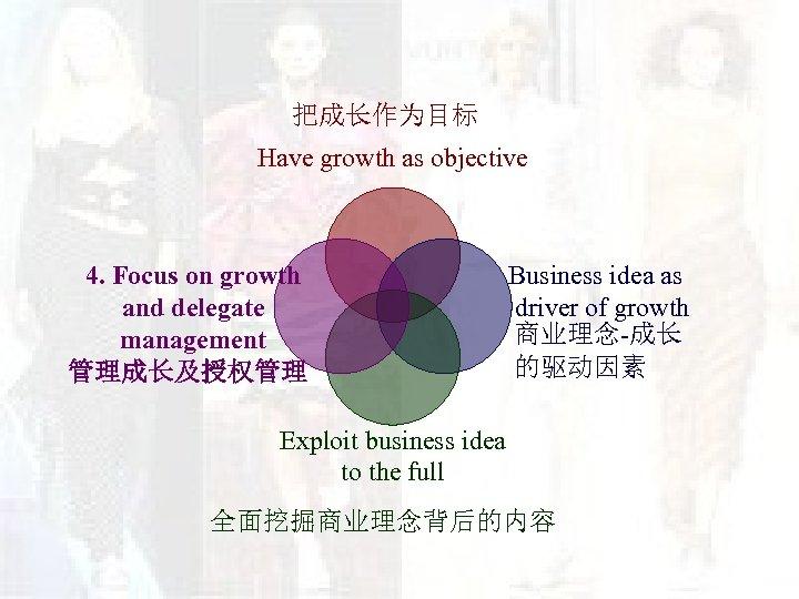 把成长作为目标 Have growth as objective 4. Focus on growth and delegate management 管理成长及授权管理 Business