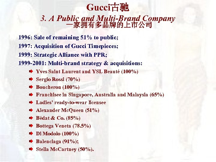 Gucci古驰 3. A Public and Multi-Brand Company 一家拥有多品牌的上市公司 1996: Sale of remaining 51% to