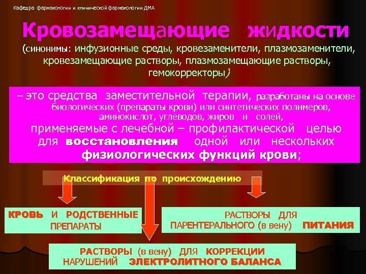 Кафедра фармакологии и клинической фармакологии ДМА Кровозамещающие жидкости (синонимы: инфузионные среды, кровезаменители, плазмозаменители, кровезамещающие