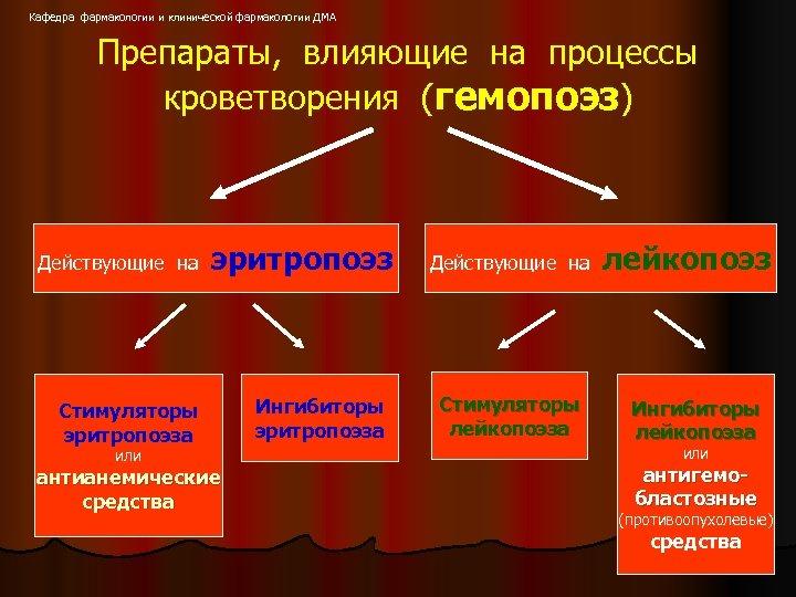 Кафедра фармакологии и клинической фармакологии ДМА Препараты, влияющие на процессы кроветворения (гемопоэз) Действующие на