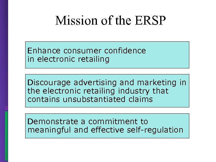 Mission of the ERSP Enhance consumer confidence in electronic retailing Discourage advertising and marketing