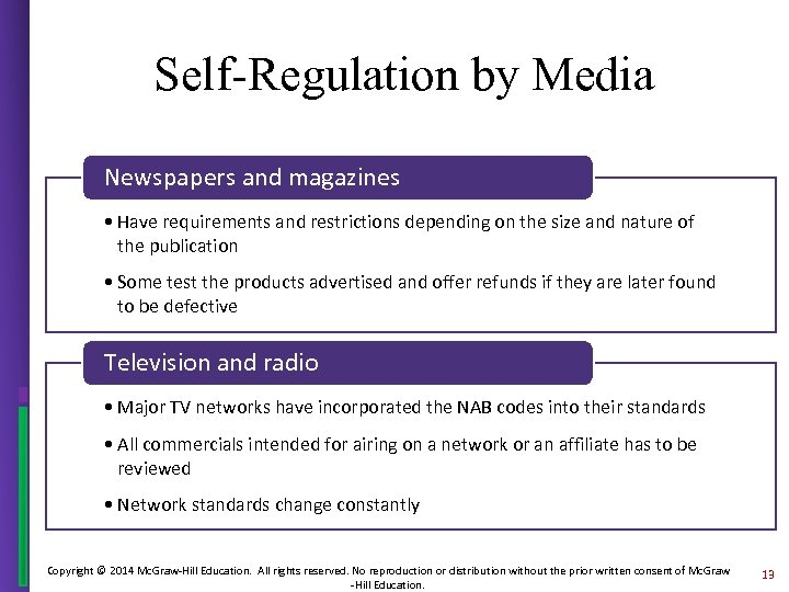 Self-Regulation by Media Newspapers and magazines • Have requirements and restrictions depending on the