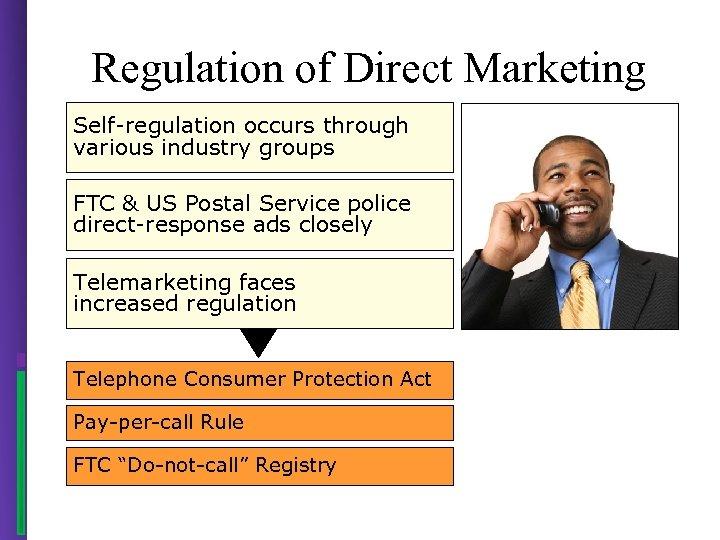 Regulation of Direct Marketing Self-regulation occurs through various industry groups FTC & US Postal