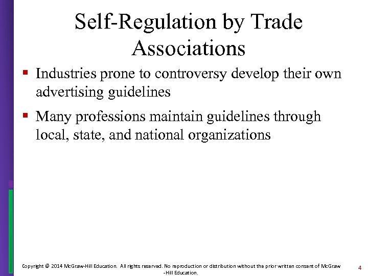Self-Regulation by Trade Associations § Industries prone to controversy develop their own advertising guidelines