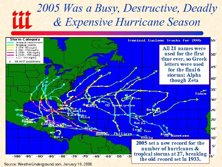 2005 Was a Busy, Destructive, Deadly & Expensive Hurricane Season All 21 names were