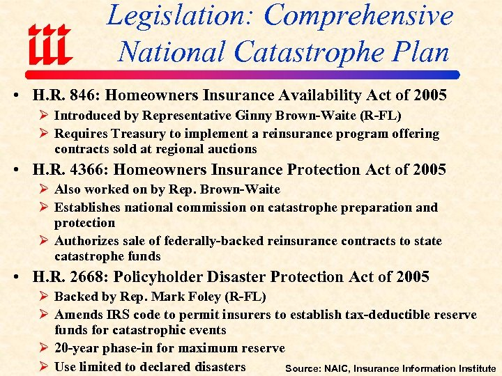 Legislation: Comprehensive National Catastrophe Plan • H. R. 846: Homeowners Insurance Availability Act of