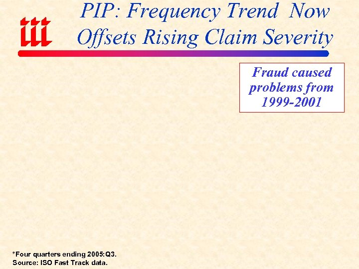PIP: Frequency Trend Now Offsets Rising Claim Severity Fraud caused problems from 1999 -2001