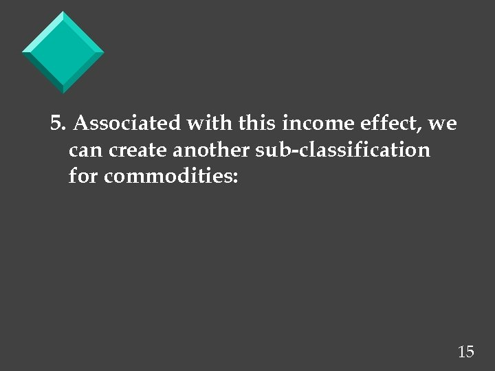5. Associated with this income effect, we can create another sub-classification for commodities: 15