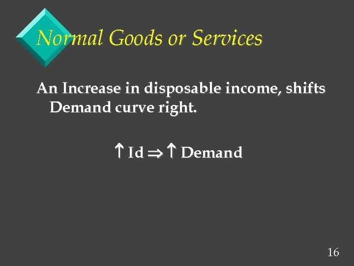 Normal Goods or Services An Increase in disposable income, shifts Demand curve right. Id