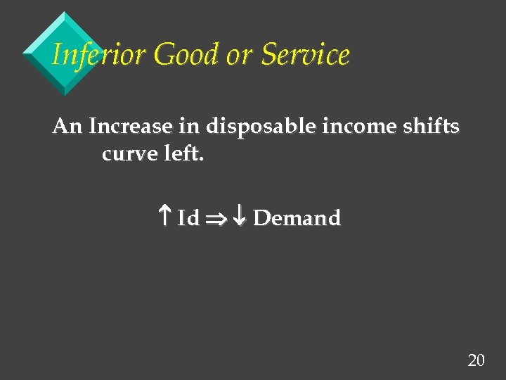 Inferior Good or Service An Increase in disposable income shifts curve left. Id Demand