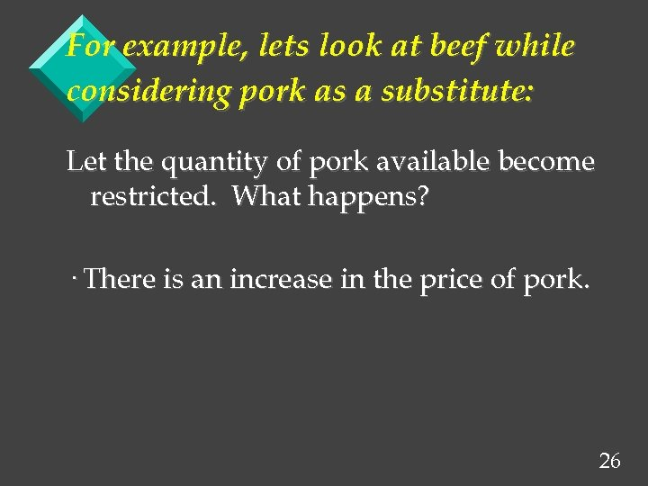 For example, lets look at beef while considering pork as a substitute: Let the