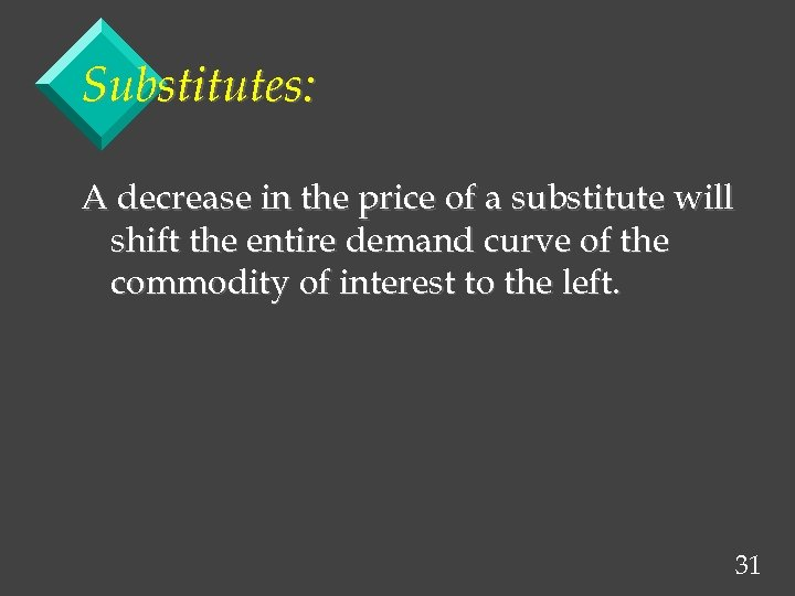 Substitutes: A decrease in the price of a substitute will shift the entire demand
