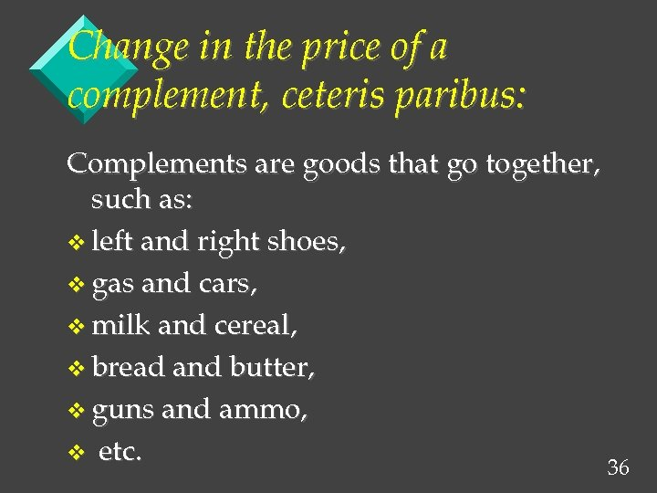Change in the price of a complement, ceteris paribus: Complements are goods that go