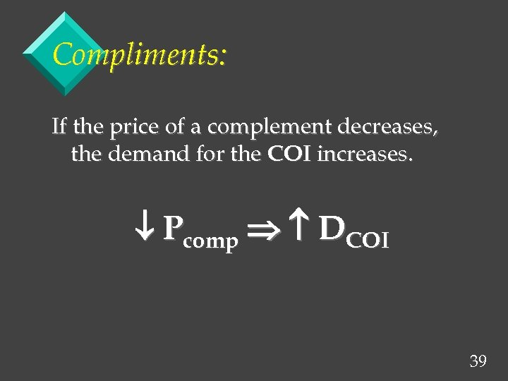 Compliments: If the price of a complement decreases, the demand for the COI increases.