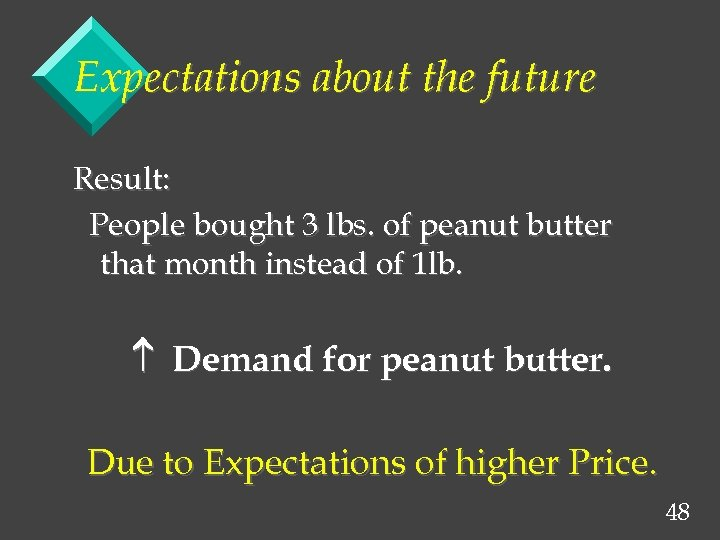 Expectations about the future Result: People bought 3 lbs. of peanut butter that month