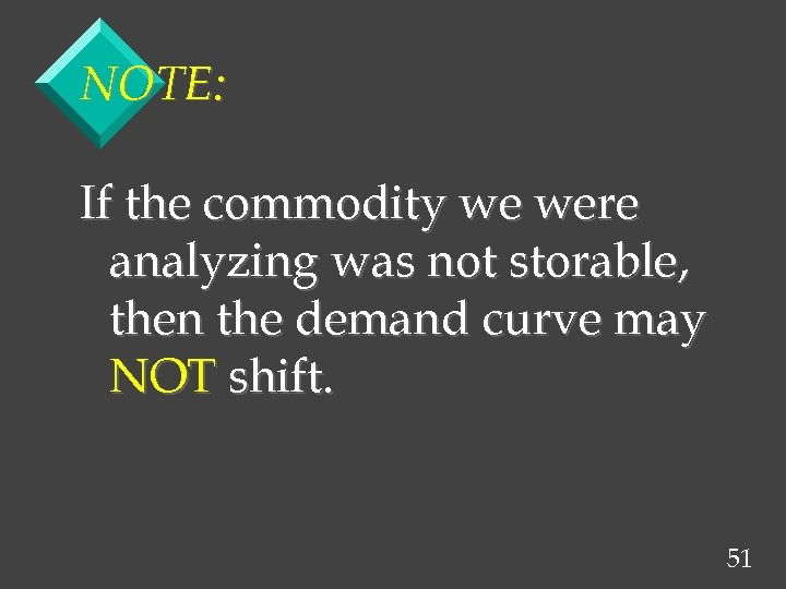 NOTE: If the commodity we were analyzing was not storable, then the demand curve
