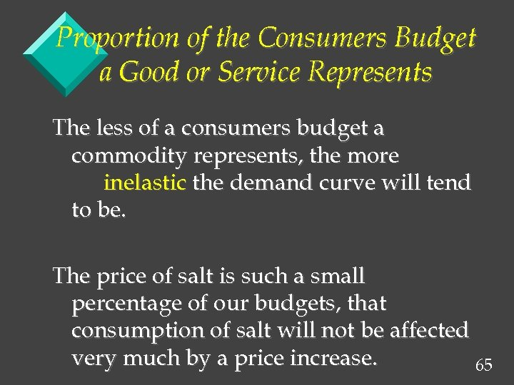 Proportion of the Consumers Budget a Good or Service Represents The less of a