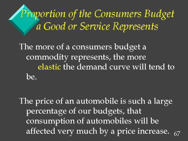 Proportion of the Consumers Budget a Good or Service Represents The more of a