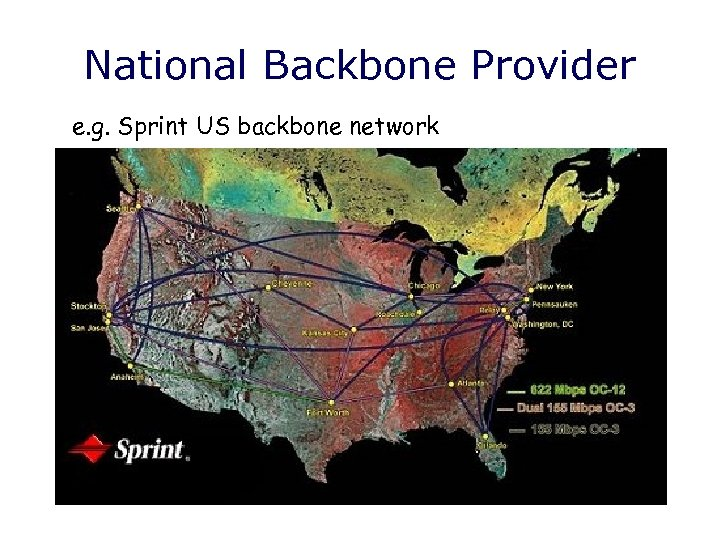 National Backbone Provider e. g. Sprint US backbone network