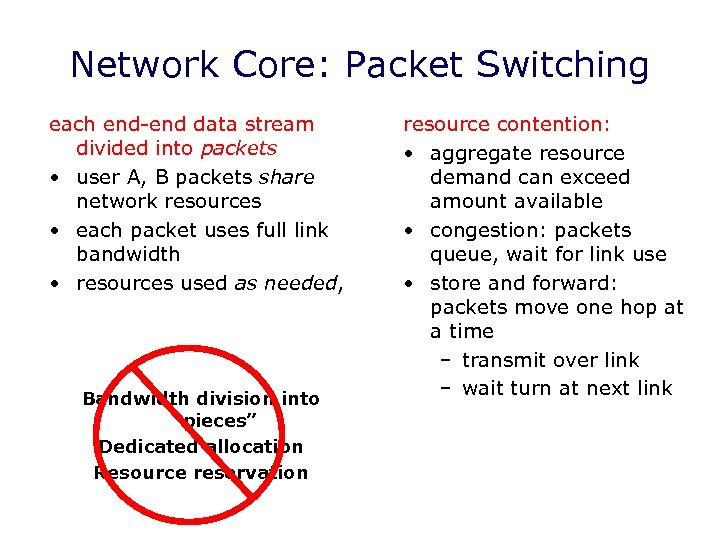 Network Core: Packet Switching each end-end data stream divided into packets • user A,