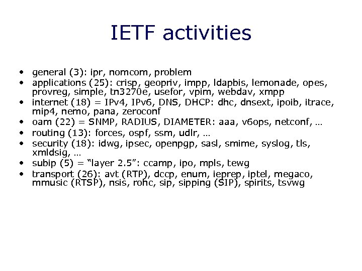 IETF activities • general (3): ipr, nomcom, problem • applications (25): crisp, geopriv, impp,