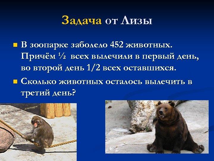 Задача от Лизы В зоопарке заболело 452 животных. Причём ½ всех вылечили в первый