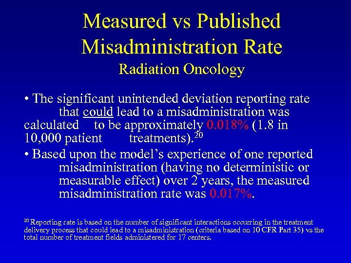 Measured vs Published Misadministration Rate Radiation Oncology • The significant unintended deviation reporting rate
