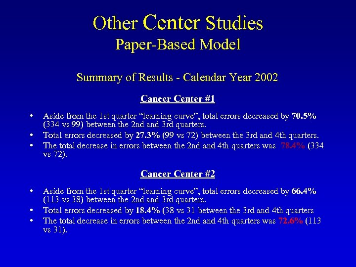 Other Center Studies Paper-Based Model Summary of Results - Calendar Year 2002 Cancer Center