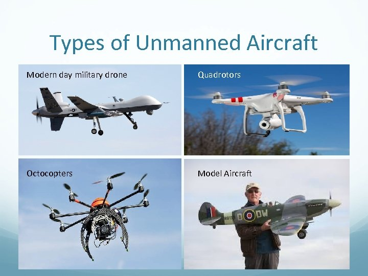 Types of Unmanned Aircraft Modern day military drone Quadrotors Octocopters Model Aircraft