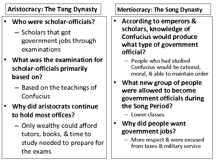 Aristocracy: The Tang Dynasty • Who were scholar-officials? – Scholars that government jobs through