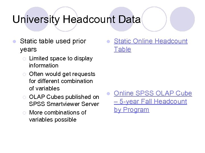 University Headcount Data l Static table used prior years ¡ ¡ Limited space to