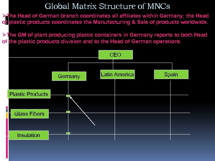 Global Matrix Structure of MNCs ØThe Head of German branch coordinates all affiliates within