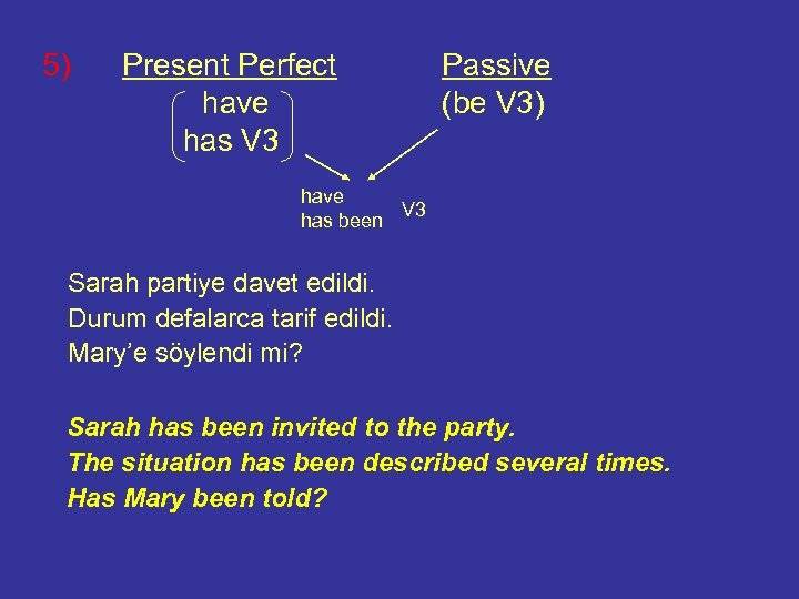 5) Present Perfect have has V 3 Passive (be V 3) have V 3