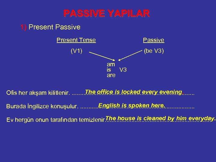 PASSIVE YAPILAR 1) Present Passive Present Tense Passive (V 1) (be V 3) am