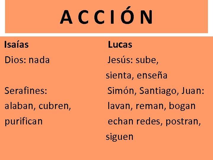 A C C I Ó N Isaías Lucas Dios: nada Jesús: sube, sienta, enseña