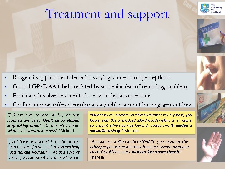 Treatment and support § § Range of support identified with varying success and perceptions.