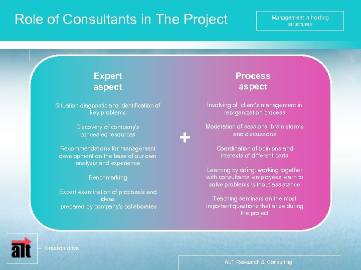 Role of Consultants in The Project Management in holding structures Expert aspect Process aspect