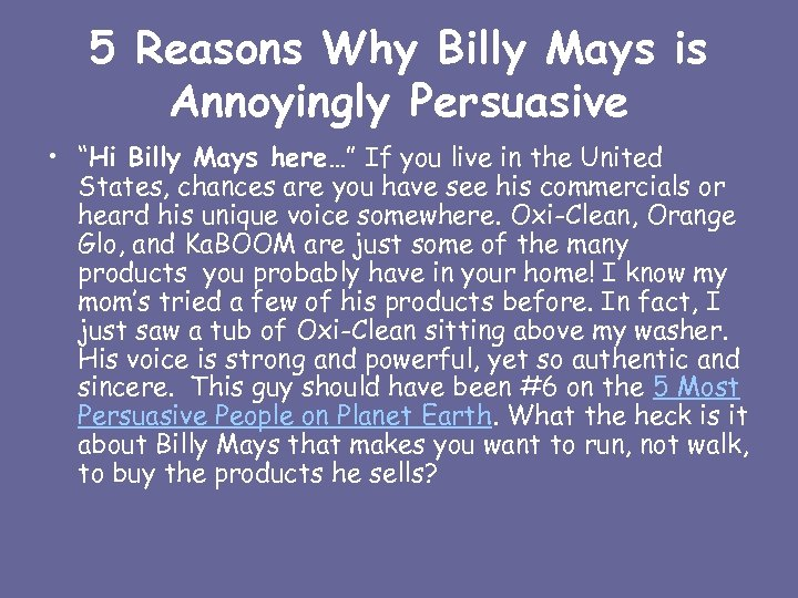 """5 Reasons Why Billy Mays is Annoyingly Persuasive • """"Hi Billy Mays here…"""" If"""