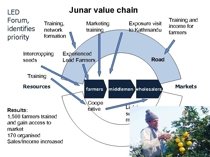 LED Forum, identifies priority Junar value chain Training, network formation Intercropping seeds Marketing training