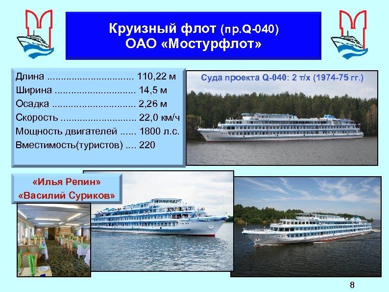 Круизный флот (пр. Q-040) ОАО «Мостурфлот» Длина. . . . 110, 22 м Ширина.