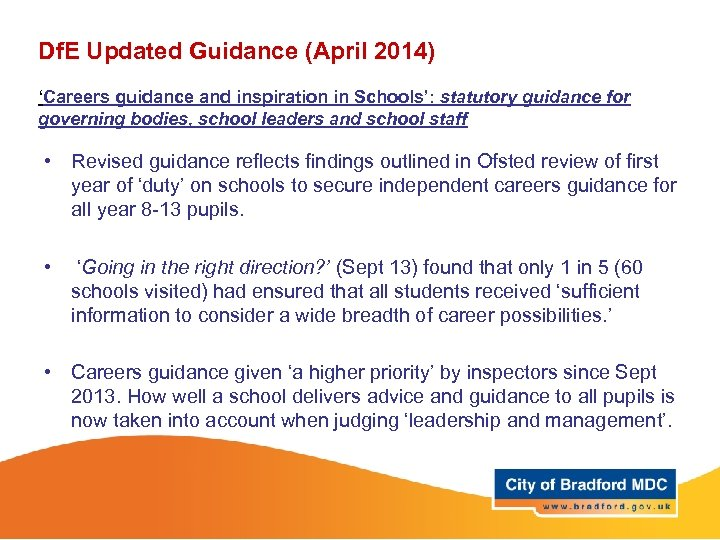 Df. E Updated Guidance (April 2014) 'Careers guidance and inspiration in Schools': statutory guidance