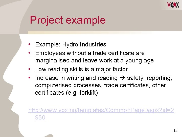 Project example • Example: Hydro Industries • Employees without a trade certificate are marginalised