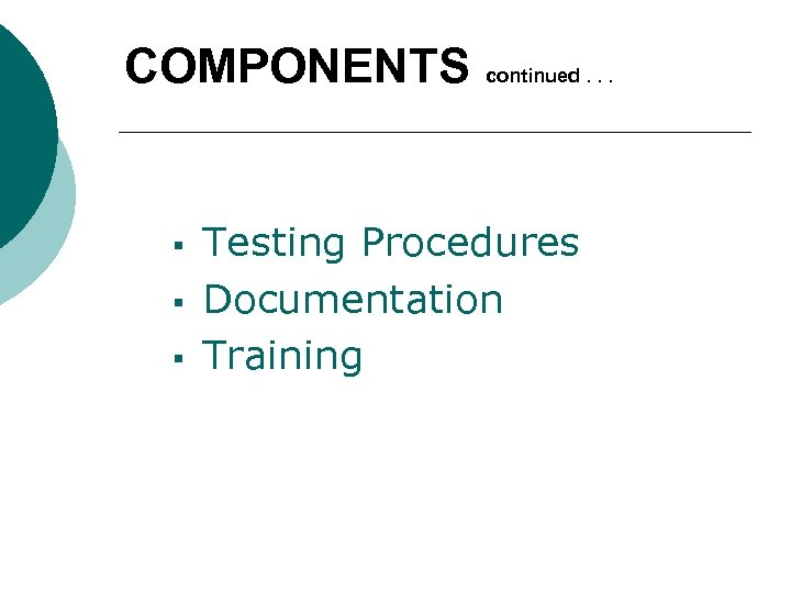 COMPONENTS § § § continued. . . Testing Procedures Documentation Training