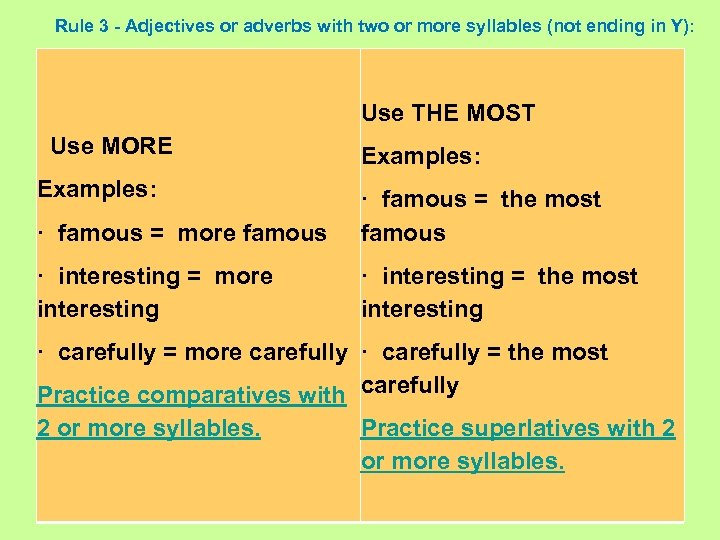 Rule 3 - Adjectives or adverbs with two or more syllables (not ending in