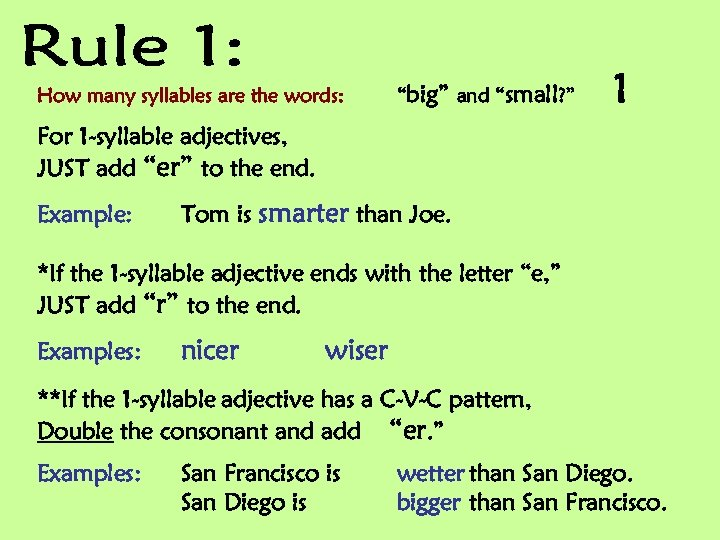 """How many syllables are the words: """"big"""" and """"small? """" 1 For 1 -syllable"""