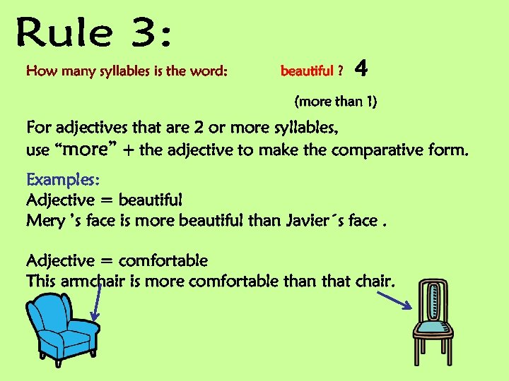 How many syllables is the word: beautiful ? 4 (more than 1) For adjectives