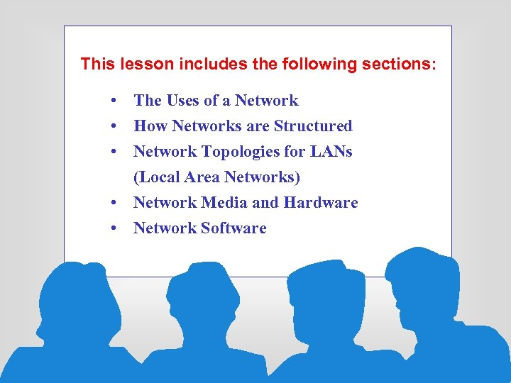 This lesson includes the following sections: • The Uses of a Network • How