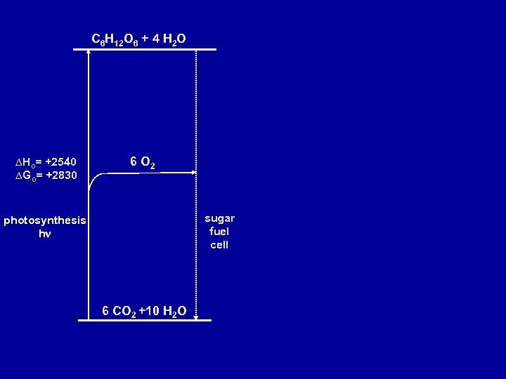 C 6 H 12 O 6 + 4 H 2 O ∆Ho= +2540 ∆Go=
